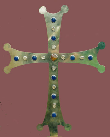 Altar cross. Brass, silver, semi-precious stones