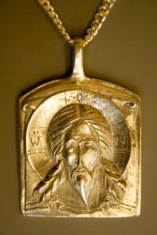 Bishop's encolpion. Cast sterling silver, taken from original wooden carving