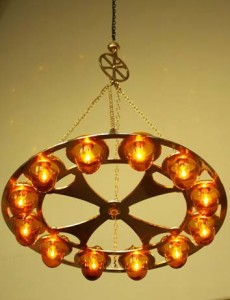 Brass 12 Lamp Chandelier