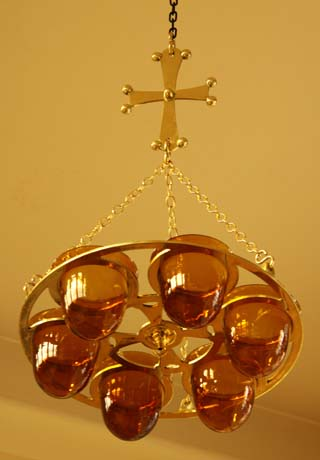 Brass 6 Lamp Chandelier