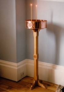 Candle stand. Limewood and repoussé recycled copper