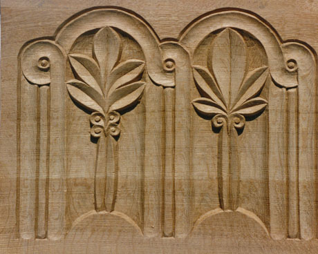 Carved oak panelling for an organ casing