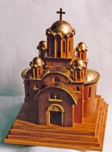Incense holder. Various woods, gilding. Iviron Monastery, Mount Athos