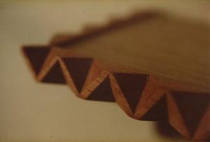 Church shelving. Carved recycled mahogany edge