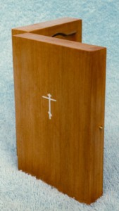 Diptych. Limewood with inlaid cross