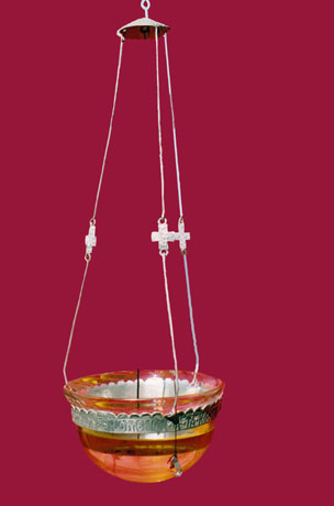 Oil hanging lamp. Sterling silver. Carved and beaten