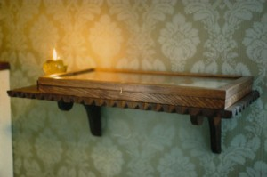 Reliquary case and carved shelving. Ash and recycled mahogany
