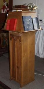 Revolving oak choir desks