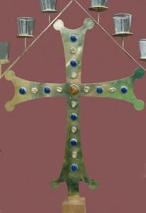 Seven branched altar lamp. Brass, silver, semi-precious stones