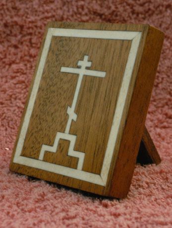 Travelling cross. Bone inlaid into recycled mahogany