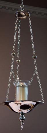 Vigil lamp. Sterling silver, hand beaten