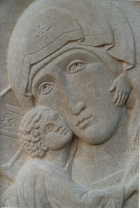 Vladimir Mother of God, detail. Bath stone