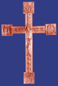 Carved cross, with scenes: Christ in Glory