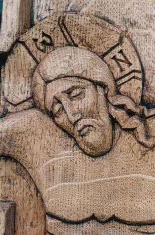 Detail of grave crucifix. Oak