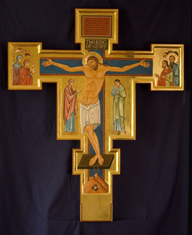 Double-sided processional cross, with saints.