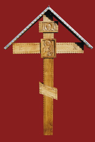 Grave cross with Mother of God icon