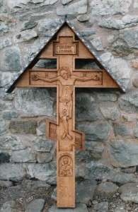 Grave cross, with St. Barbara