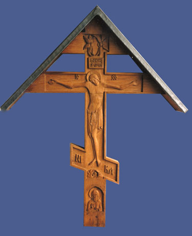 Grave cross, with St Herman of Alaska.