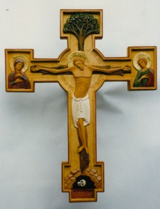 Polychromed carved crucifix – limewood