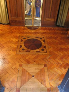 Wooden mosaic floor.