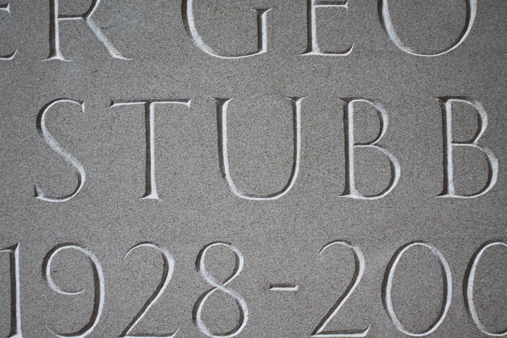 Hand carved lettering, gravestone