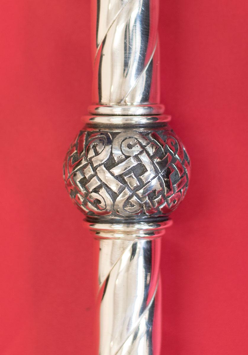 Silver episcopal staff, detail