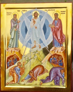 "Just finished this icon of the Transfiguration. Christ shows us ""the nature of man arrayed in the original beauty of the Image of God."""
