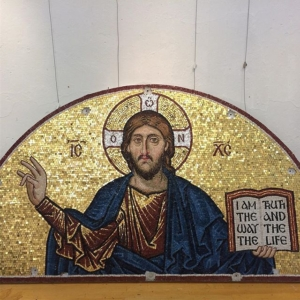 The mosaic of Christ Pantocrator, by Aidan. Installation at St George's Houston Texas  to be completed today#Christ Pantocrator#St George's Houston#aidan hart