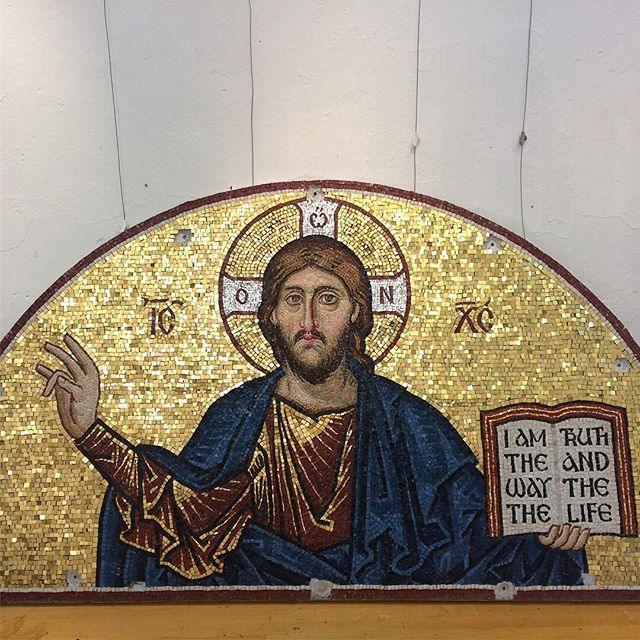 The mosaic of Christ Pantocrator, by Aidan. Installation at St…