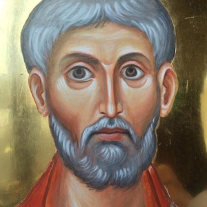 Here is a detail of an icon of St Clement of Rome that I am painting for the Orthodox parish worshipping in St Clements, Cambridge#st clement of Rome