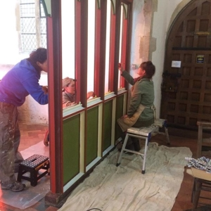 Three of my students and I are painting a screen at St Mary's, Anmer, commissioned by Prince Charles. More photos to come as we progress! Great work Lee Harvey, Michelle Hazel and Lisa Abbott!