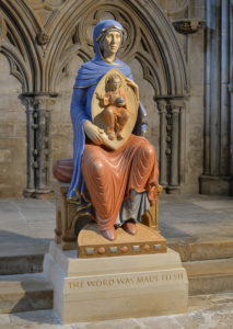 The Blessed Virgin Mary of Lincoln. Carved in limestone, polychromed and gilded. Lincoln Cathedral.