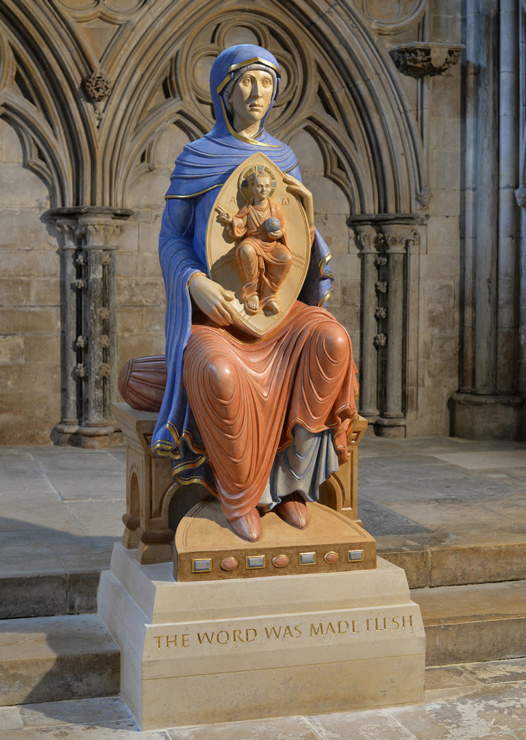 The Blessed Virgin Mary of Lincoln. Carved in limestone, polychromed…