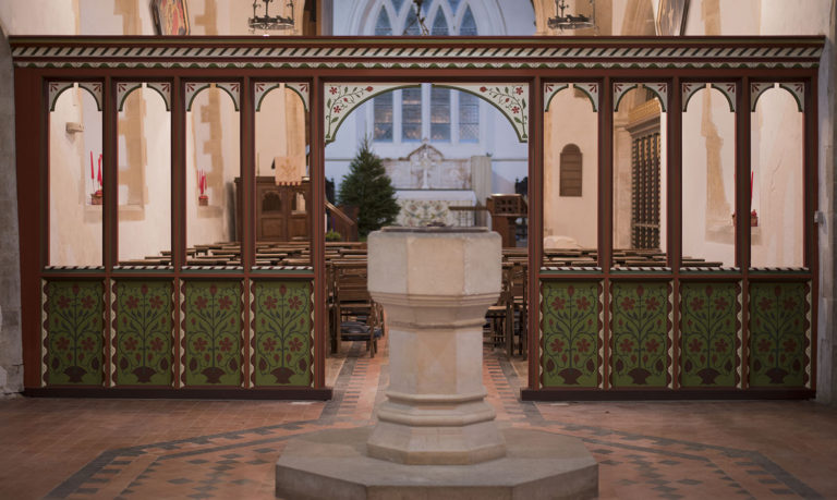 St Mary's Anglican Church, Anmer, Norfolk. Polychromy of existing nave-narthex…