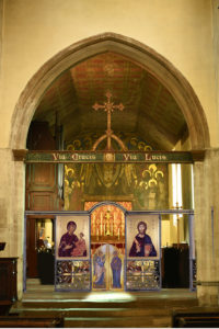 Folding wrought iron icon screen for St Clement's Church, Cambridge, UK.