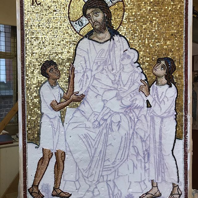 Mosaic of Christ with the children