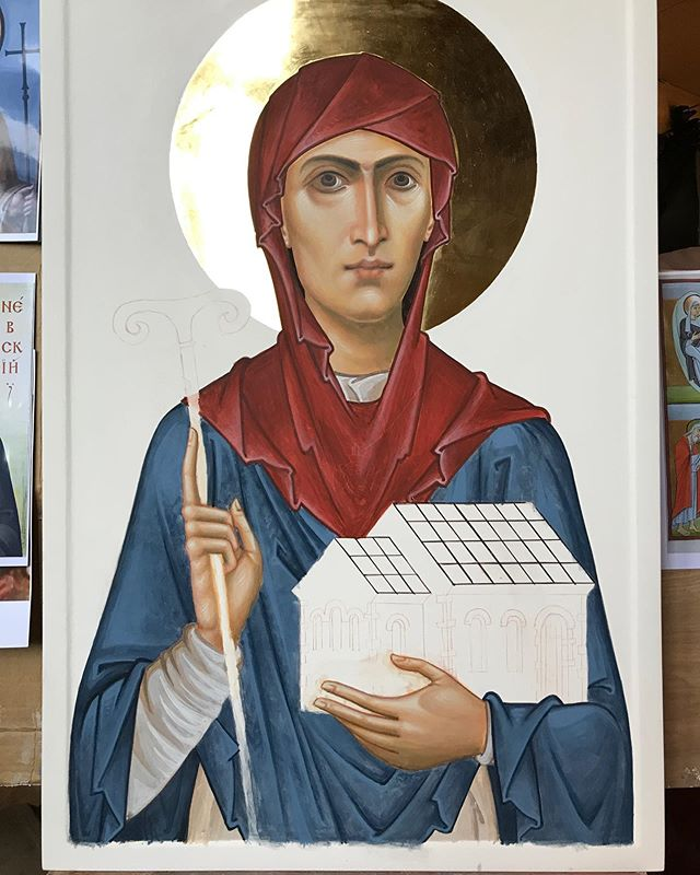 Here is the latest phase of St Ethelburga's icon. She…