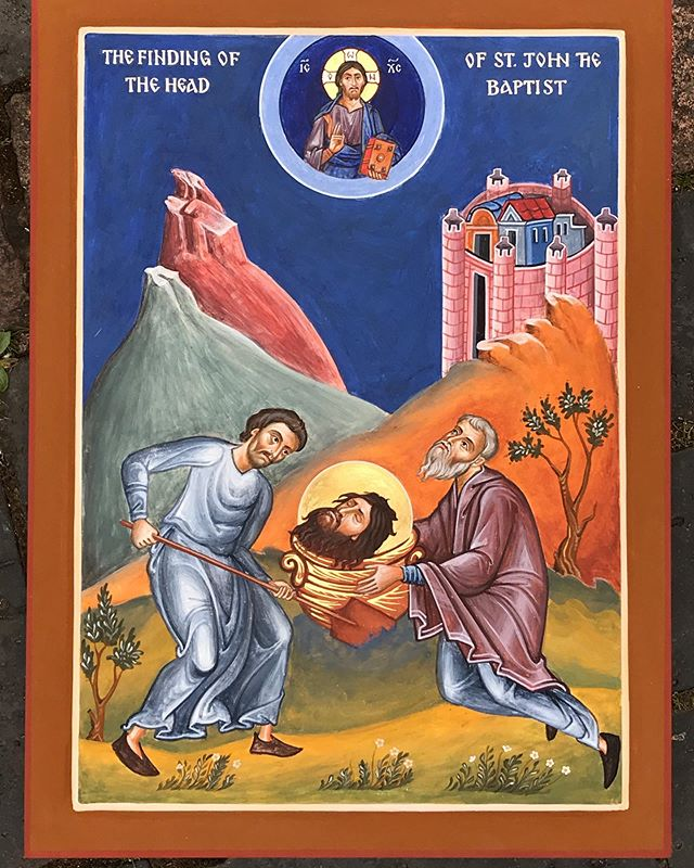 An icon just finished, The Finding of the Head of…