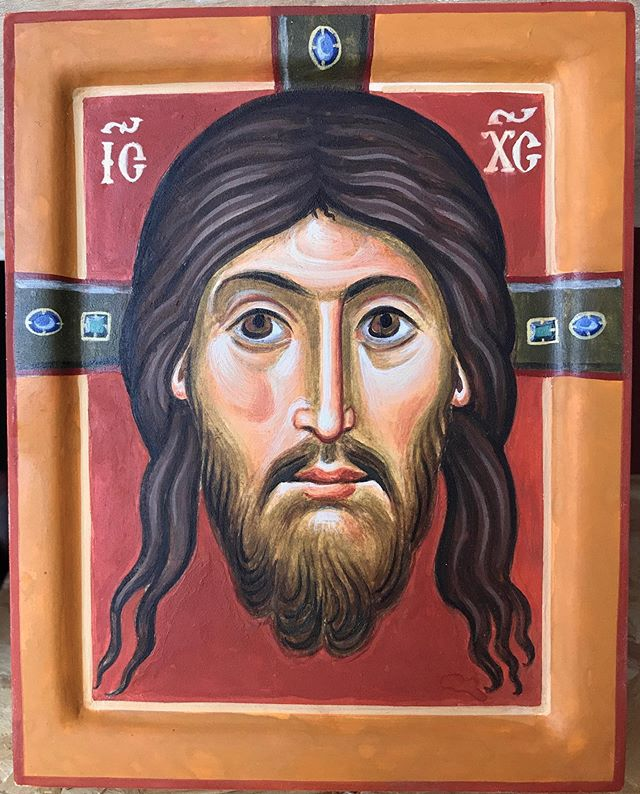 A recent Mandilion of Christ. The icon panel itself becomes…